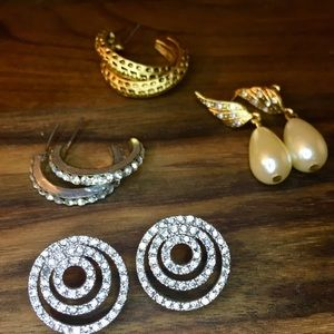 Silver & Gold Hoop, Stud, Pearl Drop Earrings Lot